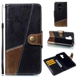 Retro Magnetic Stitching Wallet Flip Cover for LG G7 ThinQ - Dark Gray