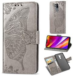 Embossing Mandala Flower Butterfly Leather Wallet Case for LG G7 ThinQ - Gray