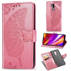 Embossing Mandala Flower Butterfly Leather Wallet Case for LG G7 ThinQ - Pink