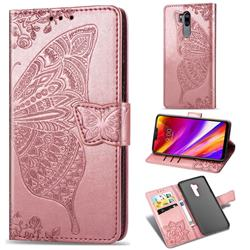 Embossing Mandala Flower Butterfly Leather Wallet Case for LG G7 ThinQ - Rose Gold