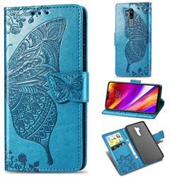 Embossing Mandala Flower Butterfly Leather Wallet Case for LG G7 ThinQ - Blue