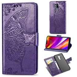 Embossing Mandala Flower Butterfly Leather Wallet Case for LG G7 ThinQ - Dark Purple