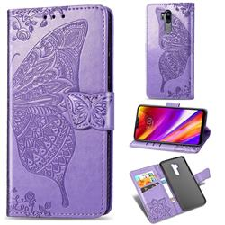 Embossing Mandala Flower Butterfly Leather Wallet Case for LG G7 ThinQ - Light Purple