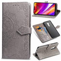 Embossing Imprint Mandala Flower Leather Wallet Case for LG G7 ThinQ - Gray