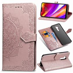 Embossing Imprint Mandala Flower Leather Wallet Case for LG G7 ThinQ - Rose Gold