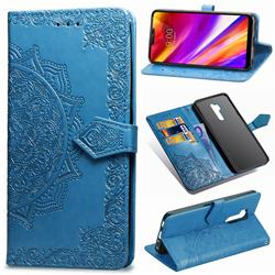 Embossing Imprint Mandala Flower Leather Wallet Case for LG G7 ThinQ - Blue