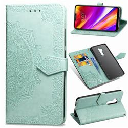 Embossing Imprint Mandala Flower Leather Wallet Case for LG G7 ThinQ - Green