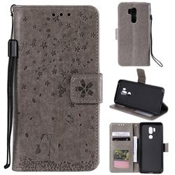 Embossing Cherry Blossom Cat Leather Wallet Case for LG G7 ThinQ - Gray
