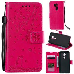 Embossing Cherry Blossom Cat Leather Wallet Case for LG G7 ThinQ - Rose