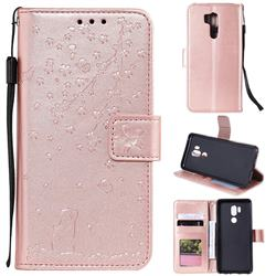 Embossing Cherry Blossom Cat Leather Wallet Case for LG G7 ThinQ - Rose Gold