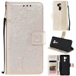 Embossing Cherry Blossom Cat Leather Wallet Case for LG G7 ThinQ - Golden