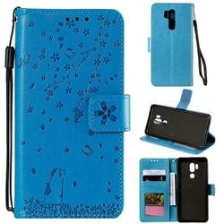 Embossing Cherry Blossom Cat Leather Wallet Case for LG G7 ThinQ - Blue