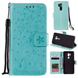 Embossing Cherry Blossom Cat Leather Wallet Case for LG G7 ThinQ - Green