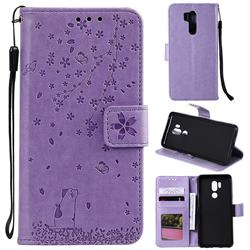 Embossing Cherry Blossom Cat Leather Wallet Case for LG G7 ThinQ - Purple