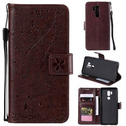 Embossing Cherry Blossom Cat Leather Wallet Case for LG G7 ThinQ - Brown
