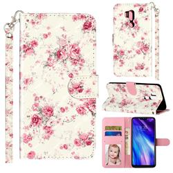 Rambler Rose Flower 3D Leather Phone Holster Wallet Case for LG G7 ThinQ