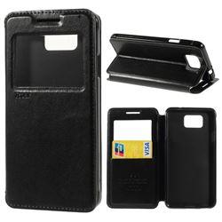 Roar Korea Noble View Leather Flip Cover for Samsung Galaxy Alpha SM-G850F SM-G850A - Black