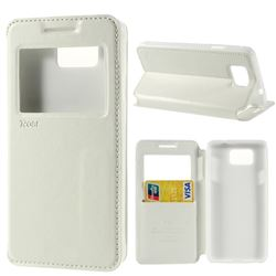 Roar Korea Noble View Leather Flip Cover for Samsung Galaxy Alpha SM-G850F SM-G850A - White