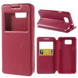 Roar Korea Noble View Leather Flip Cover for Samsung Galaxy Alpha SM-G850F SM-G850A - Rose