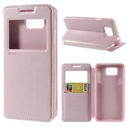 Roar Korea Noble View Leather Flip Cover for Samsung Galaxy Alpha SM-G850F SM-G850A - Pink