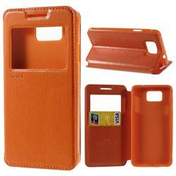 Roar Korea Noble View Leather Flip Cover for Samsung Galaxy Alpha SM-G850F SM-G850A - Orange