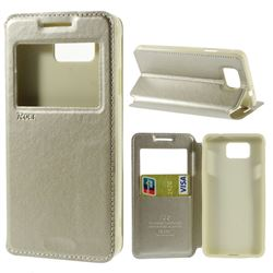 Roar Korea Noble View Leather Flip Cover for Samsung Galaxy Alpha SM-G850F SM-G850A - Champagne