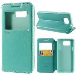 Roar Korea Noble View Leather Flip Cover for Samsung Galaxy Alpha SM-G850F SM-G850A - Cyan