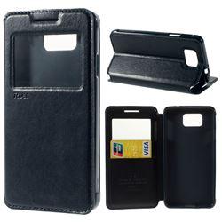 Roar Korea Noble View Leather Flip Cover for Samsung Galaxy Alpha SM-G850F SM-G850A - Dark Blue