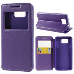 Roar Korea Noble View Leather Flip Cover for Samsung Galaxy Alpha SM-G850F SM-G850A - Purple