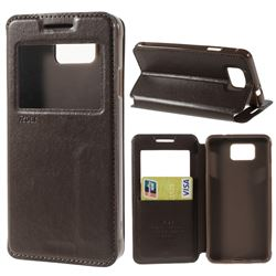 Roar Korea Noble View Leather Flip Cover for Samsung Galaxy Alpha SM-G850F SM-G850A - Brown