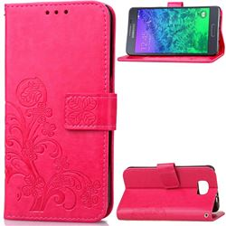 Embossing Imprint Four-Leaf Clover Leather Wallet Case for Samsung Galaxy Alpha G850 - Rose