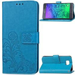 Embossing Imprint Four-Leaf Clover Leather Wallet Case for Samsung Galaxy Alpha G850 - Blue