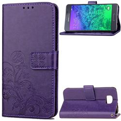 Embossing Imprint Four-Leaf Clover Leather Wallet Case for Samsung Galaxy Alpha G850 - Purple