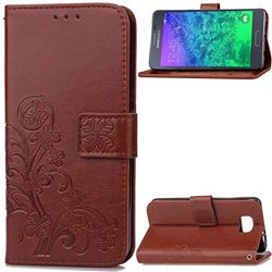 Embossing Imprint Four-Leaf Clover Leather Wallet Case for Samsung Galaxy Alpha G850 - Brown