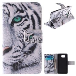 White Tiger PU Leather Wallet Case for Samsung Galaxy Alpha G850