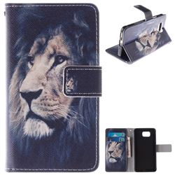 Lion Face PU Leather Wallet Case for Samsung Galaxy Alpha G850