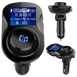 BC28 Bluetooth Wireless FM Transmitter Radio Car Kit MP3 Music Player Dual USB Receiver Hands Free - Black