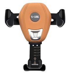 YOGEE YC702 Gravity Linkage Wireless Qi Quick Charging Car Holder - Orange