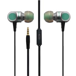 UENJOY Chrome Metal Stereo Earphones Wired High Definition in-Ear Eearbuds Headphones - Mint Green