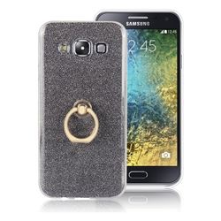 Luxury Soft TPU Glitter Back Ring Cover with 360 Rotate Finger Holder Buckle for Samsung Galaxy E5 E500F E500H - Black