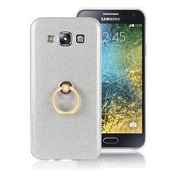 Luxury Soft TPU Glitter Back Ring Cover with 360 Rotate Finger Holder Buckle for Samsung Galaxy E5 E500F E500H - White