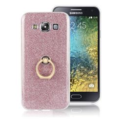 Luxury Soft TPU Glitter Back Ring Cover with 360 Rotate Finger Holder Buckle for Samsung Galaxy E5 E500F E500H - Pink