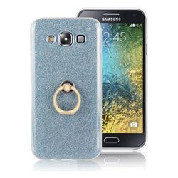 Luxury Soft TPU Glitter Back Ring Cover with 360 Rotate Finger Holder Buckle for Samsung Galaxy E5 E500F E500H - Blue
