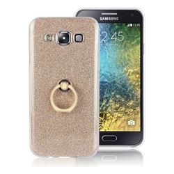 Luxury Soft TPU Glitter Back Ring Cover with 360 Rotate Finger Holder Buckle for Samsung Galaxy E5 E500F E500H - Golden