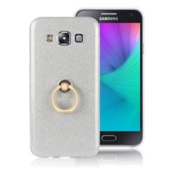 Luxury Soft TPU Glitter Back Ring Cover with 360 Rotate Finger Holder Buckle for Samsung Galaxy E7 E700 E700H E7009 E7000 - White