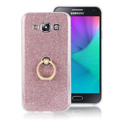 Luxury Soft TPU Glitter Back Ring Cover with 360 Rotate Finger Holder Buckle for Samsung Galaxy E7 E700 E700H E7009 E7000 - Pink