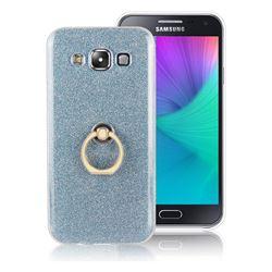 Luxury Soft TPU Glitter Back Ring Cover with 360 Rotate Finger Holder Buckle for Samsung Galaxy E7 E700 E700H E7009 E7000 - Blue