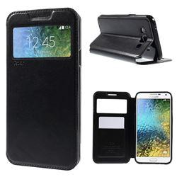 Roar Korea Noble View Leather Flip Cover for Samsung Galaxy E7 E700 E700H E7009 E7000 - Black