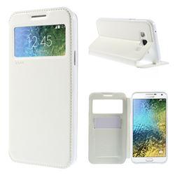 Roar Korea Noble View Leather Flip Cover for Samsung Galaxy E7 E700 E700H E7009 E7000 - White