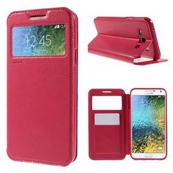 Roar Korea Noble View Leather Flip Cover for Samsung Galaxy E7 E700 E700H E7009 E7000 - Rose